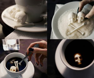 skull, sugar, and coffee image