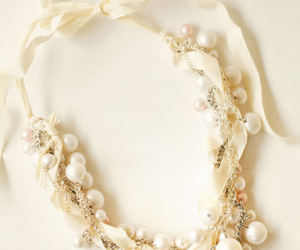 necklace, pearls, and white image