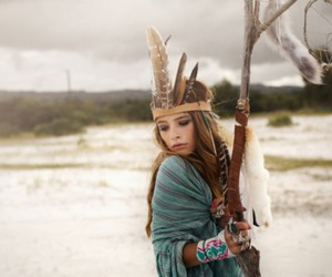 girl, feather, and hippie image