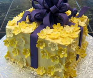 blue, cake, and flowers image