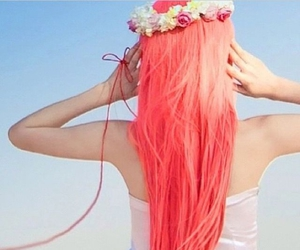 awesome, beautiful hair, and flower crown image