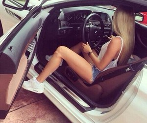 car, girl, and blonde image