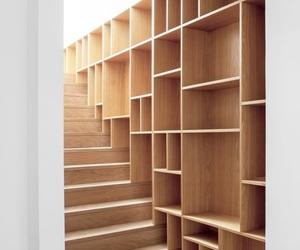 home, stairs, and bookshelf image