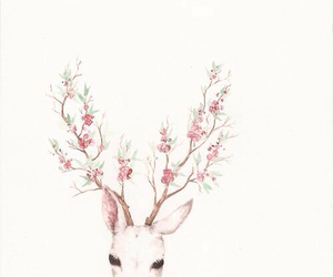 flowers, deer, and pink image