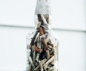 cigarette, smoke, and bottle image