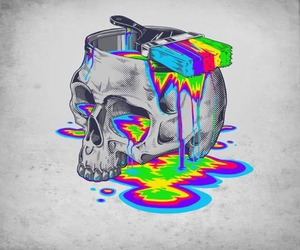 skull, colors, and paint image