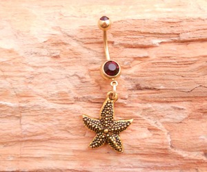 belly button ring, gold, and starfish image
