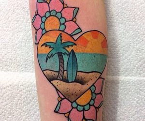 beach, colour, and flower image