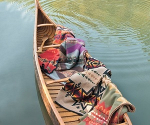 boat, blanket, and lake image