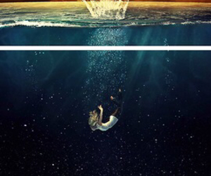 art, falling, and drowning image