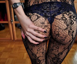 fishnet stockings, hand, and knickers image