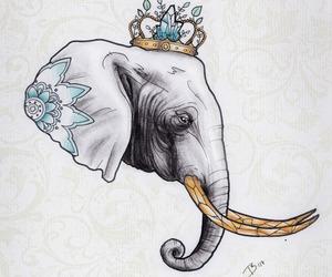 drawing, elefant, and elephant image