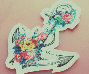 anchor, drawing, and flower image