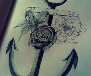 anchor, drawing, and flowers image