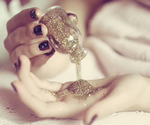 beautiful, bottle, and gold dust image