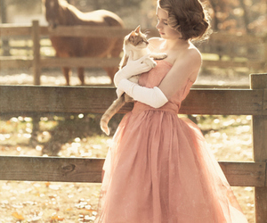 girl, cat, and dress image