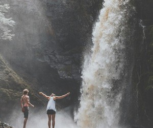 waterfall, nature, and couple image
