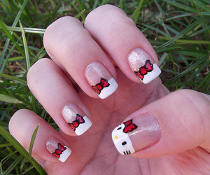 nails, hello kitty, and kitty image