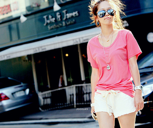 girl, pink, and sunglasses image
