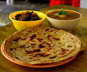 Chicken, okra, and paratha image