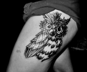 black and white, tattoo, and owl image