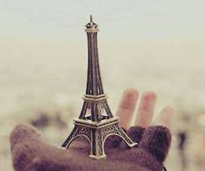 paris, hand, and eiffel tower image