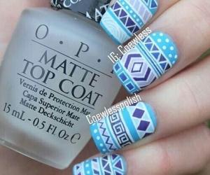 blue, aztec nails, and diy image