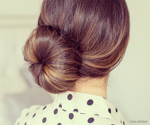 hairstyle, hair, and bun image