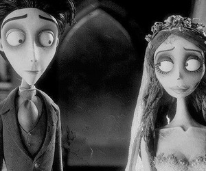 black and white, corpse bride, and horror image