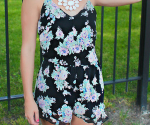 black, floral, and cute image