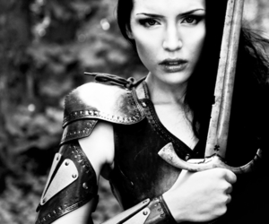 warrior, sword, and woman image