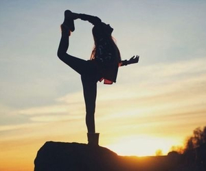 girl, sunset, and dance image