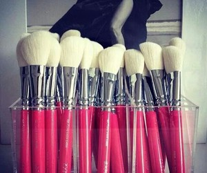brush, makeup, and pink image