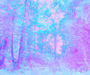 forest, pink, and blue image