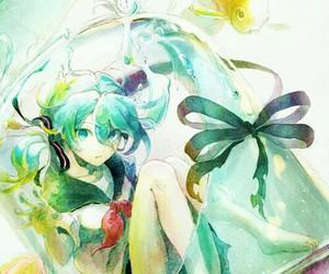 anime girl, bottle, and miku image