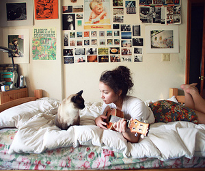 girl, cat, and guitar image