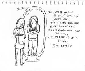 girl, mirror, and demi image