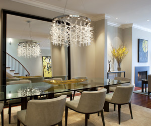 dining room, mirror wall, and mirrod decor image