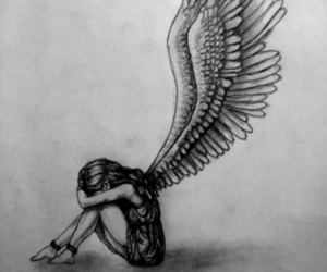 angel, draw, and black and white image