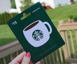starbucks, coffee, and gift card image