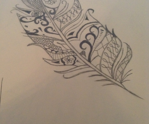 drawing, feather, and tattoo image