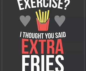 fries, exercise, and food image