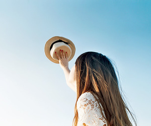 girl, hat, and sky image