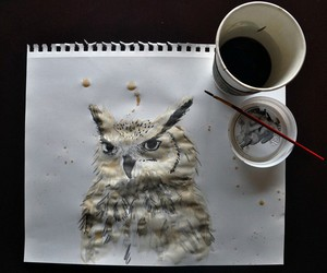 owl, art, and coffee image