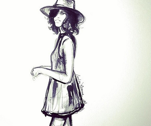 black and white, drawing, and dress image