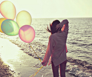 girl, beach, and balloons image