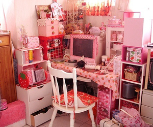 pink, cute, and room image