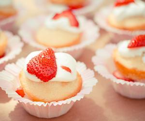 food, strawberry, and cupcake image