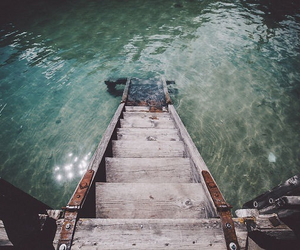 water, sea, and stairs image