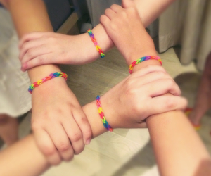 bracelet, rainbow, and colors image